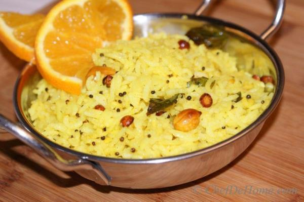 Lemon Rice - Leftover Rice fried with Turmeric and Lemon