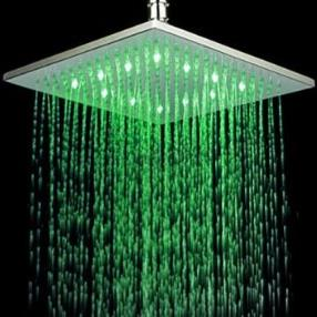 Chrome Finish Rectangular Temperature-controlled 3 Colors LED Shower Head--Faucetsmall.com
