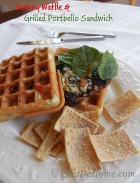 Savory Waffle and Grilled Portbello Sandwich -Everyone loves waffle for breakfast but my family also loves to enjoy waffles for lunch.