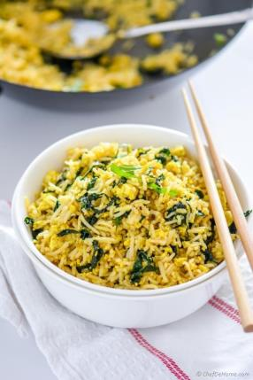 Vegan Tofu Scramble Kale Fried Rice Recipe - ChefDeHome.com