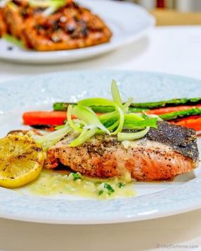 Grilled Salmon with Lemon-Butter Sauce Recipe - ChefDeHome.com