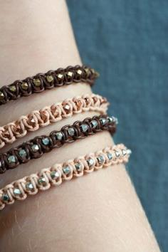 Leather bracelet geometrical beads in silver from esty.com.