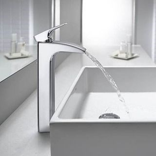 Contemporary Design Chrome Finish Deck Mounted Waterfall Bathroom Sink Faucet--Faucetsdeal.com