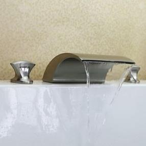 Two Handles Widespread Contemporary Waterfall Brass Nickel Brushed Bathroom Sink Faucet--Faucetsdeal.com