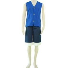 One Piece Luffy Blue Cosplay Costume
