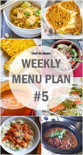 Weekly Meal Menu Plan - 5 Meals - ChefDeHome.com