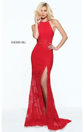 2017 Lace Bodice Halter Neckline Red Open Back Sherri Hill 51019 Slit Long Jersey Prom Dresses