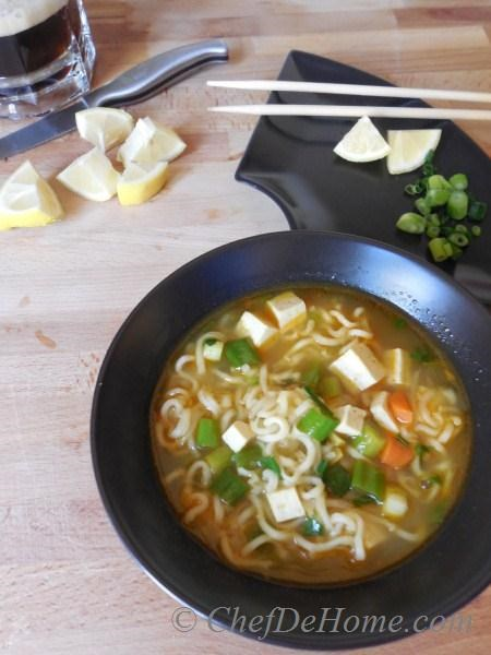 Ramen Noodle Soup is a comforting one bowl meal, perfect for those lazy winter days when you will just want a blanket to get cozy with a cup of warm soup in hand and nothing else - dinner is served.