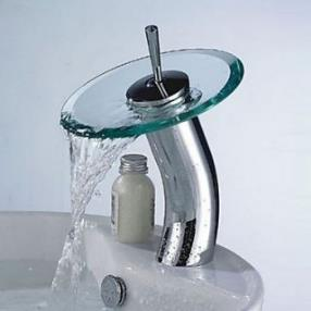 Stylish Glass Vessel Waterfall Faucet - Silver  Translucent Green--Faucetsdeal.com