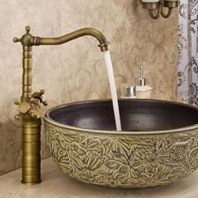 Antique Brass Dual Handles Basin Mixer Tap Rotatable Bathroom Sink Faucet--Faucetsdeal.com