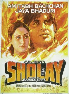 Sholay Poster - Amitabh Bachan and Jaya Bhaduri