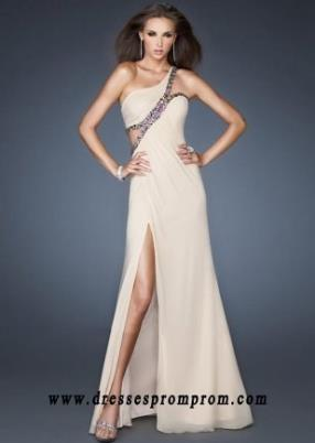Nude One Shoulder Sequin Cutout Pleated Slit Prom Dresses