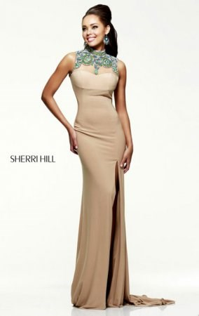 Sherri Hill 21370 Nude With Beads Open Back Slim Slit Long Prom Dress On Sale