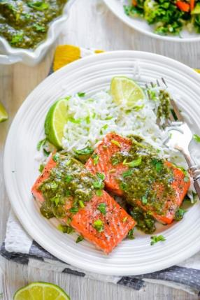 Baked Salmon with Salsa Verde Recipe - ChefDeHome.com