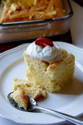 Tres Leche (means three milks) is one of my favorite, super moist sponge cake. It is a semi-sweet sponge cake, soaked in three kinds of milks (sweetened condensed, evaporated milk and heavy cream).