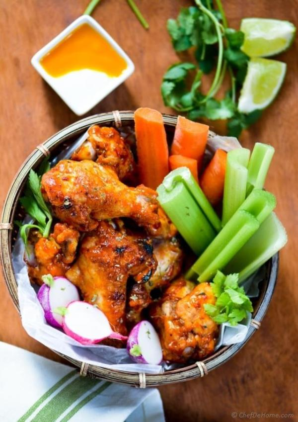 Sweet and Spicy Mango Harissa Chicken Wings Recipe - ChefDeHome.com