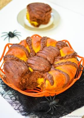 Spiced Pumpkin-Chocolate Pull-apart Spider Brioche Bread Recipe - ChefDeHome.com