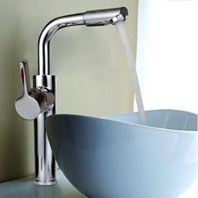 Chrome Finish Contemporary Rotatable Countertop Bathroom Sink Faucet--Faucetsmall.com