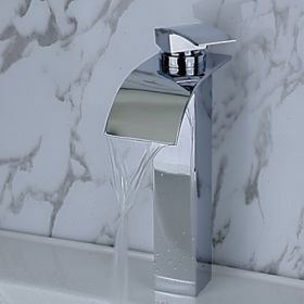 Contemporary Brass Waterfall Bathroom Sink Faucet--Faucetsuperseal.com