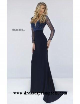 2016 Sherri Hill Long Sleeved Beaded Navy Dress 50060 Black