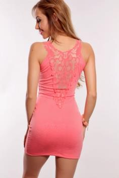 Coral Floral Embossed Mesh Design Dress
