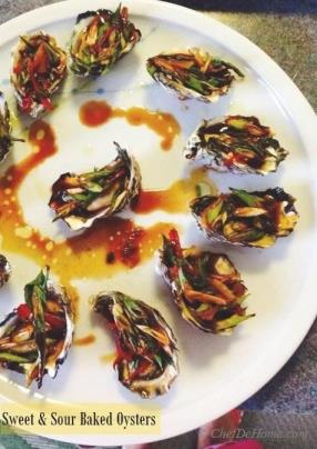 These succulent, sweet and sour oysters will burst in your mouth and will transport you to Asia. I'm hooked the taste of oysters since I tasted'em with this scrumptious, garlicky sauce.
