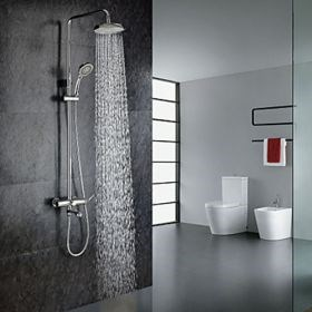 Chrome Finish Contemporary Shower Faucet with Handheld and 8 inch Showerhead--Faucetsuperseal.com