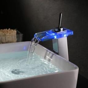 Contemporary Single Handle Centerset LED Waterfall Ceramic Valve Oil-rubbed Bronze Bathroom Sink Faucet--Faucetsdeal.com
