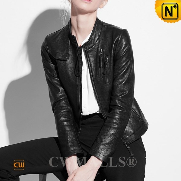 CWMALLS Womens Designer Leather Bomber Jacket CW607011