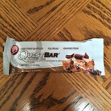 This Chocolate Chip Cookie Dough Quest Bar has low sugar high protein is gluten free and delicious