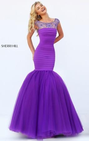 2016 Beaded Purple Boat Neckline Chiffon Bandage Sherri Hill 50014 Long Pleated Evening Dresses