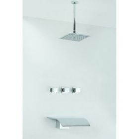 Chrome Finish Tub Shower Faucet with Rain Shower Head - Wall Mount--Faucetsuperseal.com