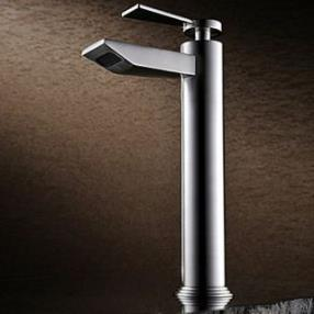 Single Handle Contemporary Brass Nickel Brushed Bathroom Sink Faucet--Faucetsdeal.com