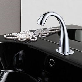 Automatic Sensor Contemporary Chrome Finish Bathroom Sink Faucet--Faucetsuperseal.com