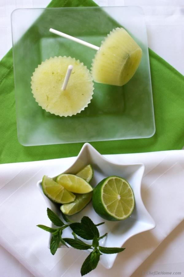 Cucumber Lime Cocktail Ice Pops Recipe -ChefDeHome.com