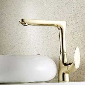Ti-PVD Finish Antique Style Centerset Brass Kitchen Faucet--Faucetsdeal.com