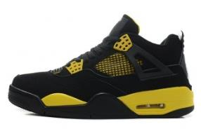 Michael Jordan 4 Retro Thunder Shoes Black White Tour Yellow Color
