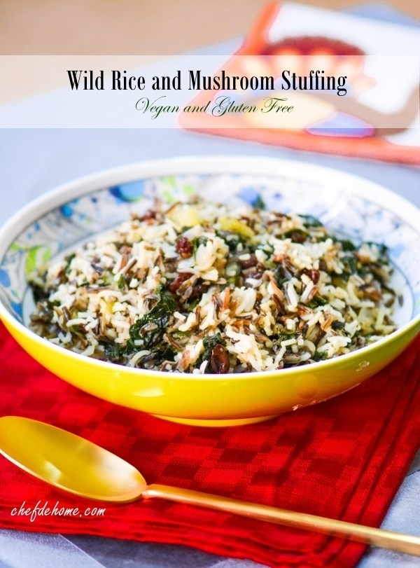 Wild Rice, Kale and Mushroom Stuffing - Vegan and Gluten Free Recipe -ChefDeHome.com