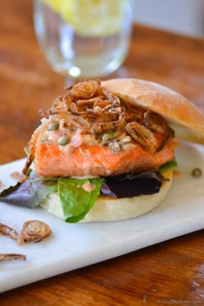 Salmon Burgers with Lemon-Caper Wine Sauce Recipe - ChefDeHome.com