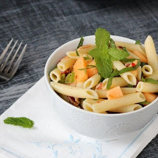 Pasta Salad with Bacon, melon and Feta, excellent Kids Recipes by kidcultivation.blogspot.com