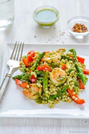 Grilled Chimichurri Shrimp and Couscous Salad Recipe - ChefDeHome.com
