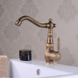 Single Handle Centerset Traditional Antique Brass Bathroom Sink Faucets--Faucetsdeal.com