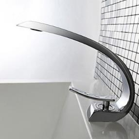 Contemporary Single Handle One Hole Hot and Cold Water Bathroom Faucet--Faucetsmall.com