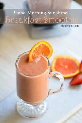 Good Morning Sunshine Breakfast Smoothie Recipe- ChefDeHome.com