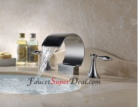 Contemporary Stainless Steel Waterfall Bathroom Faucet--FaucetSuperDeal.com