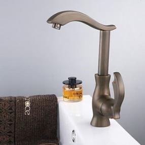 Antique Brass Finish Single Handle Centerset Bathroom Sink Faucet(Tall)--Faucetsdeal.com