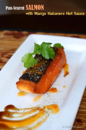 Pan-Seared Salmon with Mango Habanero Hot Sauce