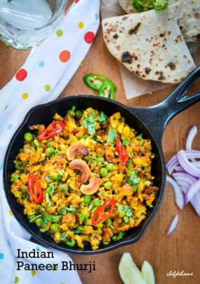 Indian Punjabi Paneer Bhurji Recipe -ChefDeHome.com