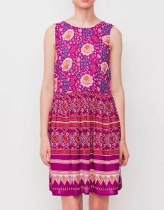 A brightly patterned little dress you'll want to wear all summer long. Features a keyhole closure at back, and a gently pleated skirt. By Mink Pink.