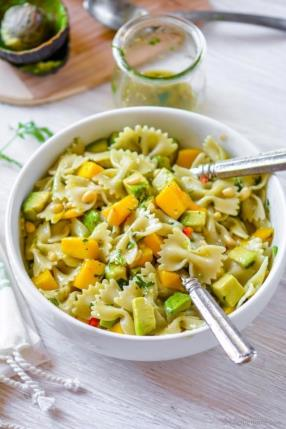 Mango Avocado Pasta Salad with Cilantro Lime Dressing Recipe - ChefDeHome.com